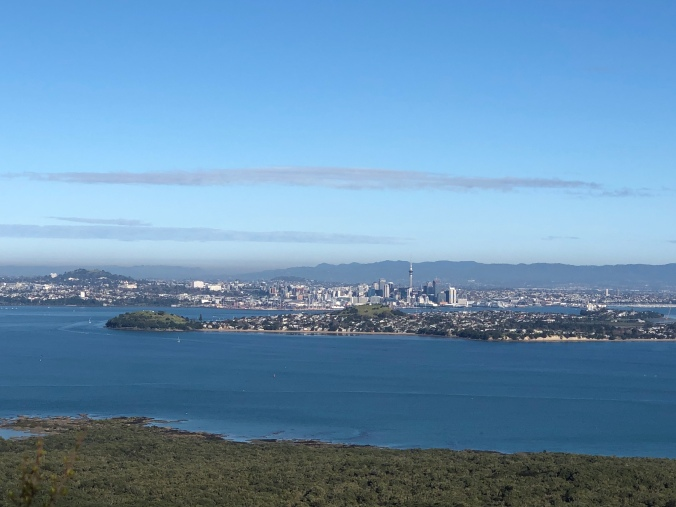 View of central Auckland from the summit of Rangitoto Island